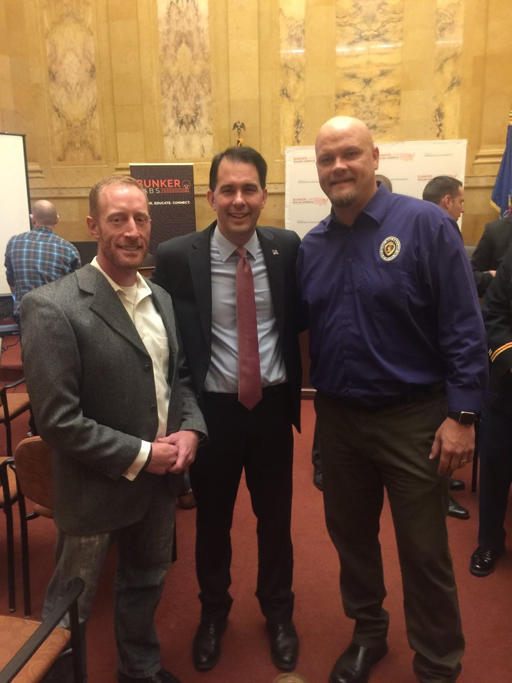 WD's Travis James West at the Bunker Labs Muster with Wisconsin Governor Scott Walker and veterans advocate and attorney Jason Johns.