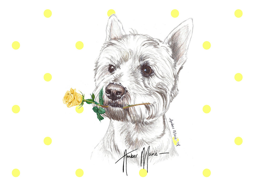 Single Large Luxury Westie Greeting Card Two Woofs