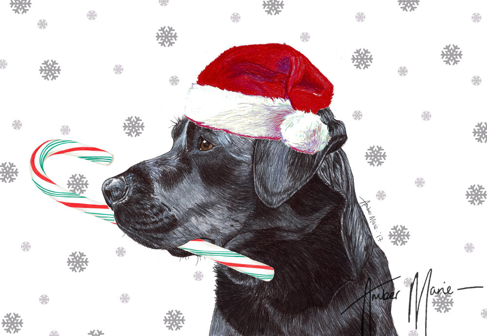 Single Large Luxury Black Labrador Christmas Card (CC) — Two Woofs