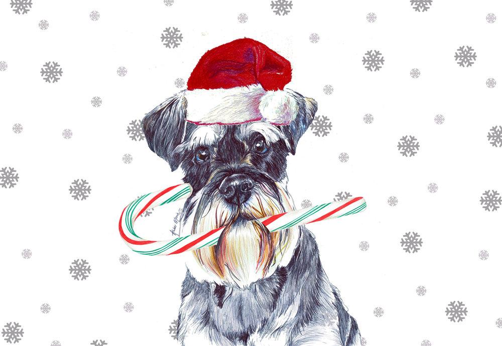 Single Large Luxury Schnauzer Christmas Card (CC) — Two Woofs