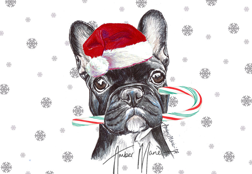 Single Large Luxury French Bulldog Christmas Card (CC) — Two Woofs