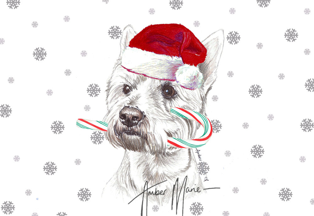 Single Large Luxury Westie Christmas Card (CC) — Two Woofs
