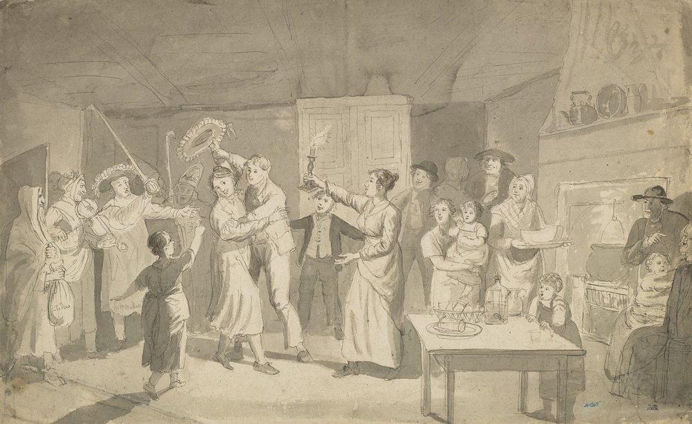 Hallow'een. Guisers Performing in a Cottage by Alexander Carse. National Galleries Scotland