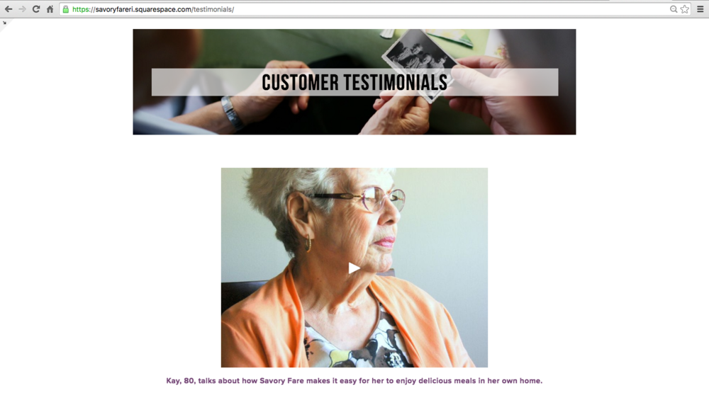 The Savory Fare website testimonial page featured a video of Kay, a long-time customer.