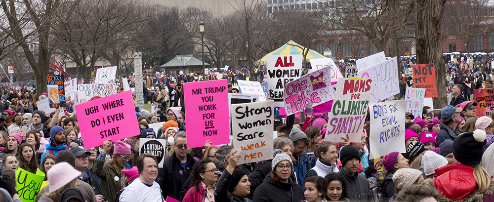 Protesters at the Women's March in Washington D.C., January 21, 2017. Photograph by Melissa Weiss.