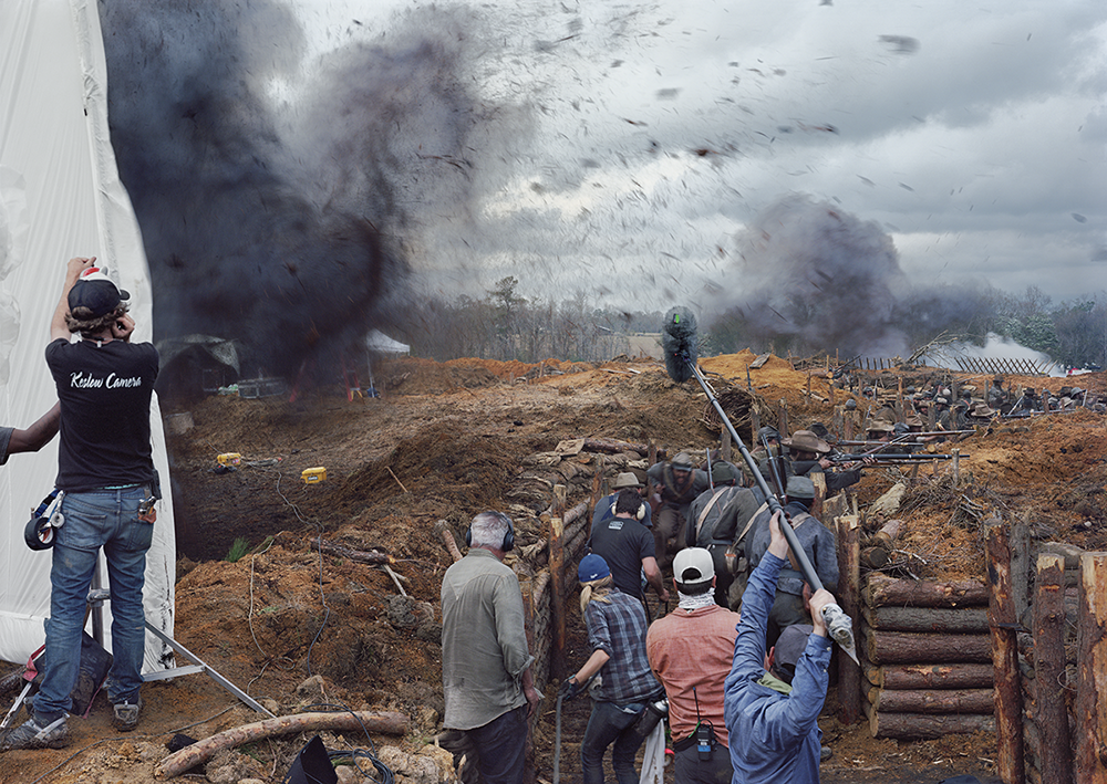 """An-My Lê,  Film Set (""""Free State of Jones""""), Battle of Corinth, Bush, Louisiana, 2015 . Inkjet print, 40 x 56 1/2 in. (101.6 x 143.5 cm). Collection of the artist; courtesy the artist and STX Entertainment, Los Angeles."""