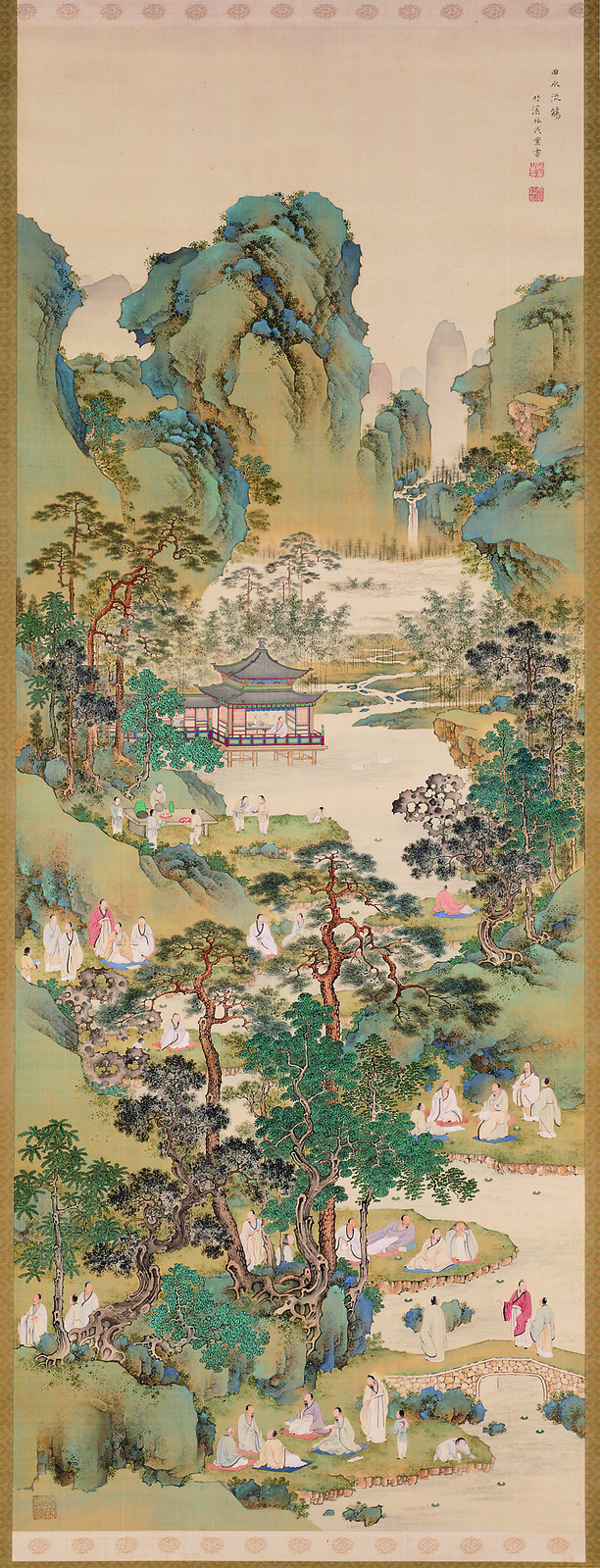 Nakabayashi Chikkei,  Poetry Gathering at the Orchid Pavilion , between 1816 and 1867. Ink, color and gofun on silk.