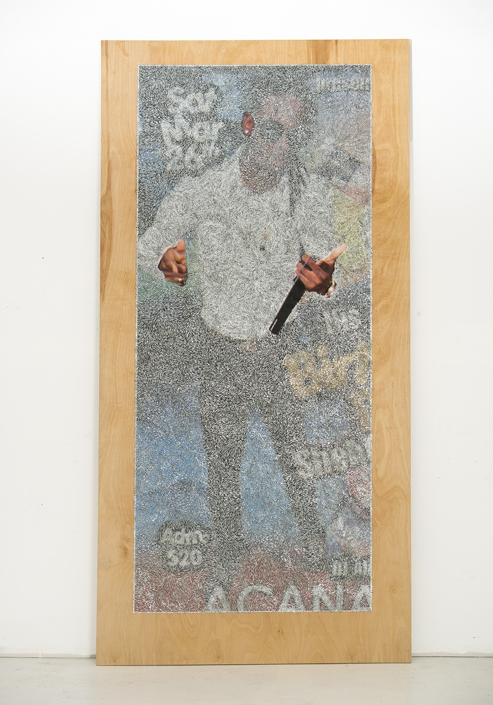 Wilmer Wilson IV,  Afr , 2017. Staples and pigment print on wood, 96 x 48 x 1 1/2 in. Courtesy of the artist and CONNERSMITH, Washington DC.