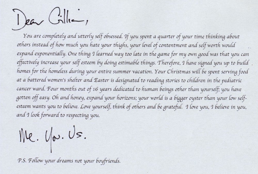 A letter from GIllian to her 16 year old self.