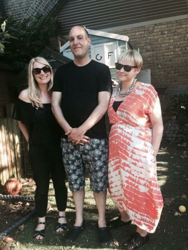 Anna Lyons, Jon Underwood and Louise Winter at Jon's house in Hackney during Life. Death. Whatever. in October 2016. This photo was taken by his son Frank.