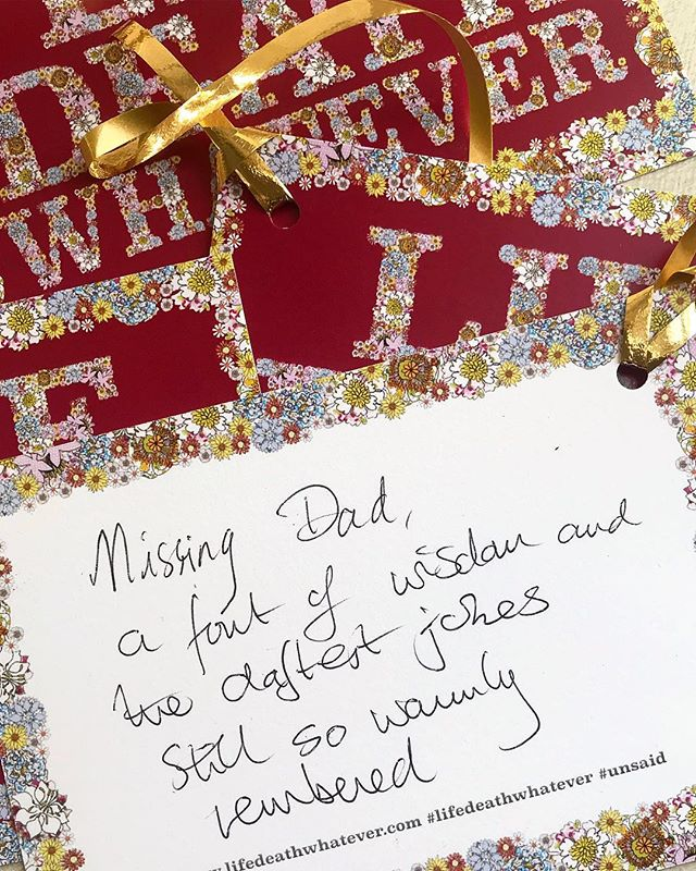 """Missing Dad,  a font of wisdom and the daftest jokes  Still so warmly  remembered""  #unsaid #lifedeathwhatever #weneedtotalk #grief #loss #bereavement #love #family #dad"