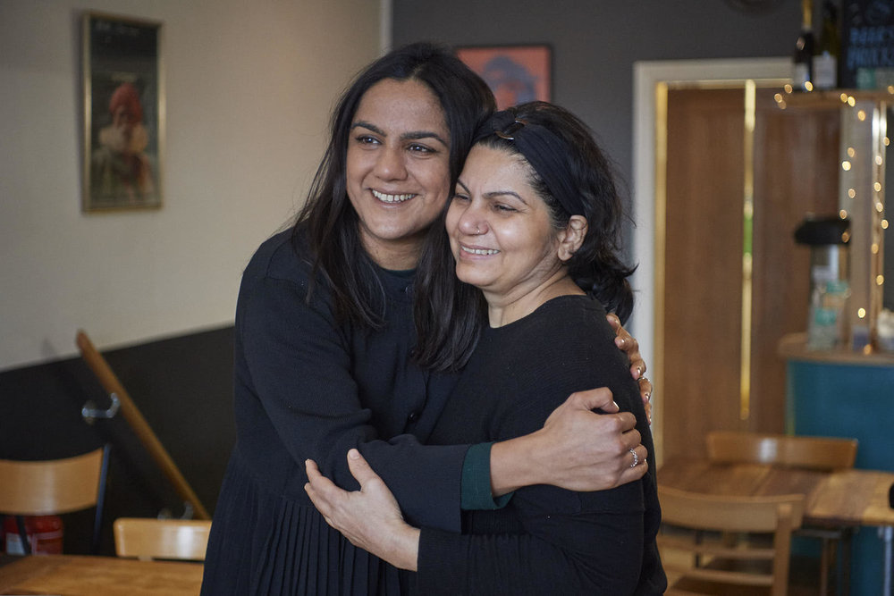 Saima Thompson and her Mum, outside their restaurant in London