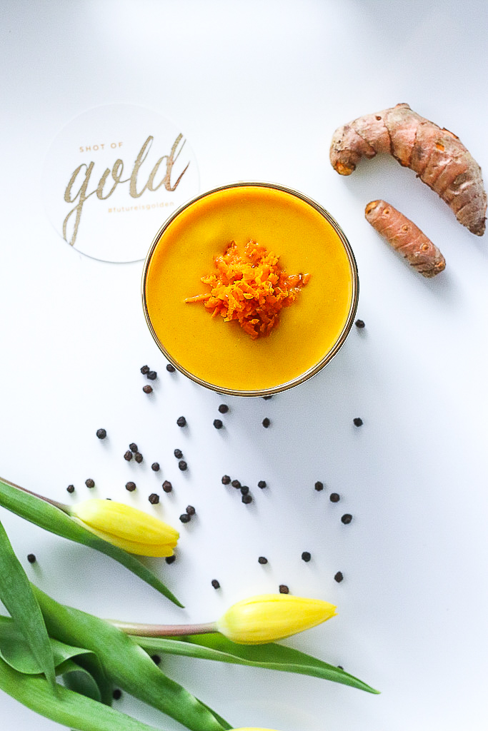 shot of gold turmeric