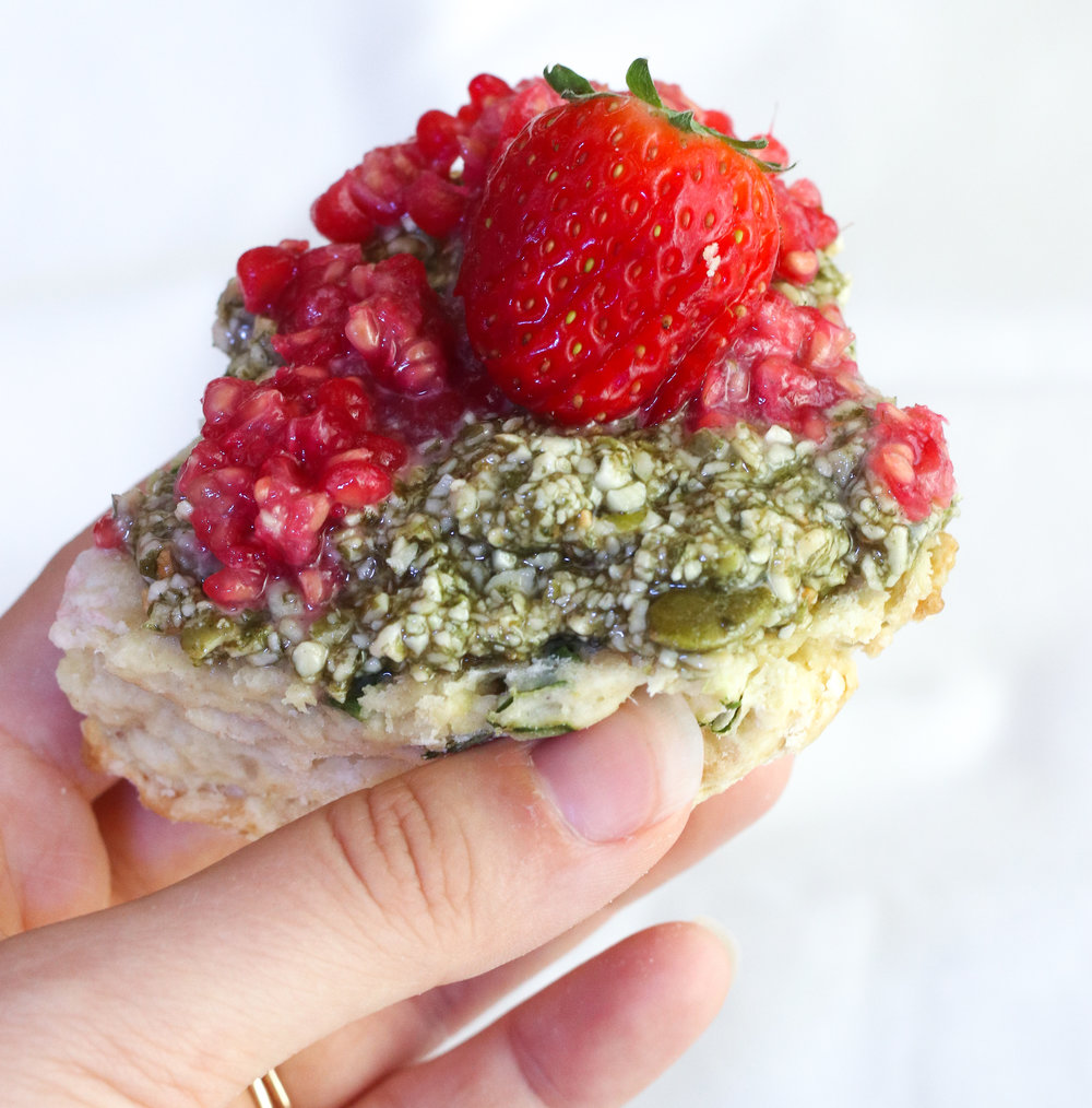 My breakfast routine has evolved as I now eat much more in the first half of the day. This morning I made kale scones with vanilla maple pumpkin seed butter (homemade), mashed raspberries, and sliced strawberries.