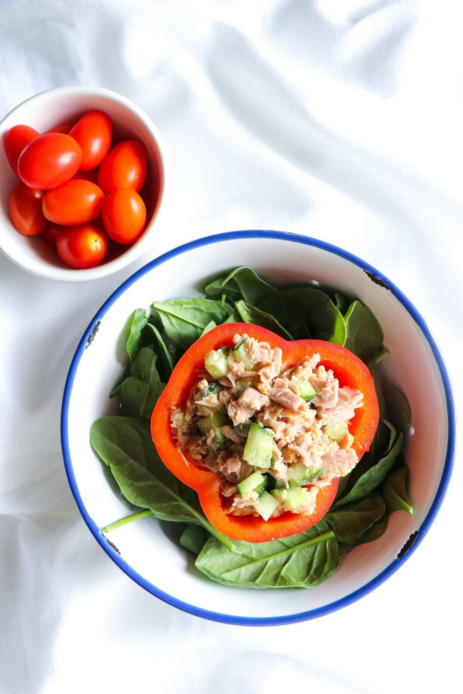 easy school lunch idea tuna stuffed pepper