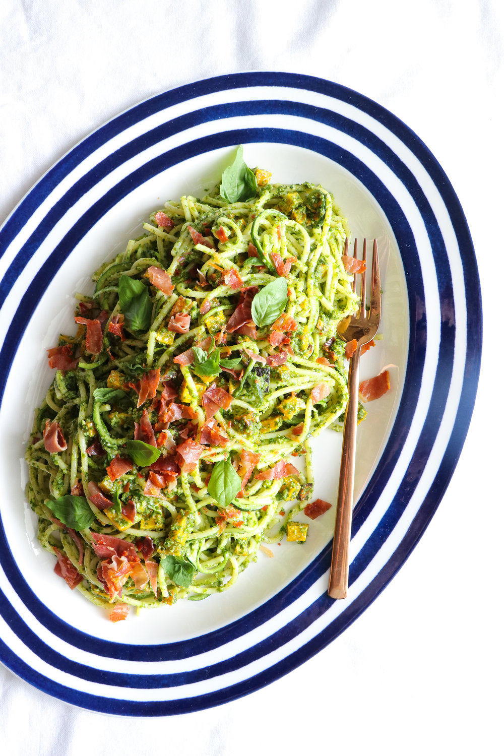 Zoodles with nut-free pesto