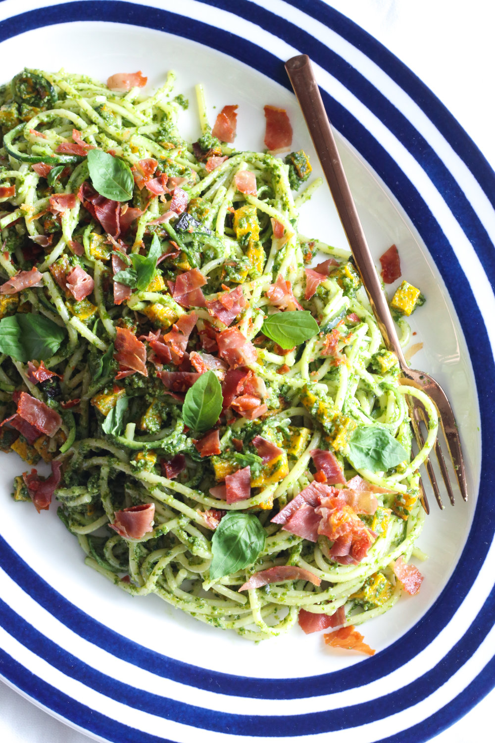 vegan zoodles with nut free pesto