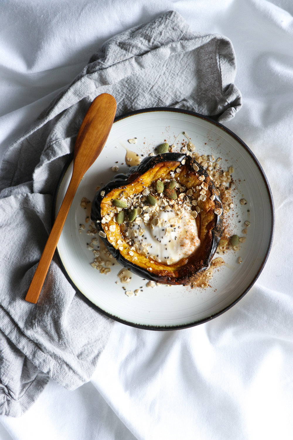roasted squash with vegan yogurt recipe