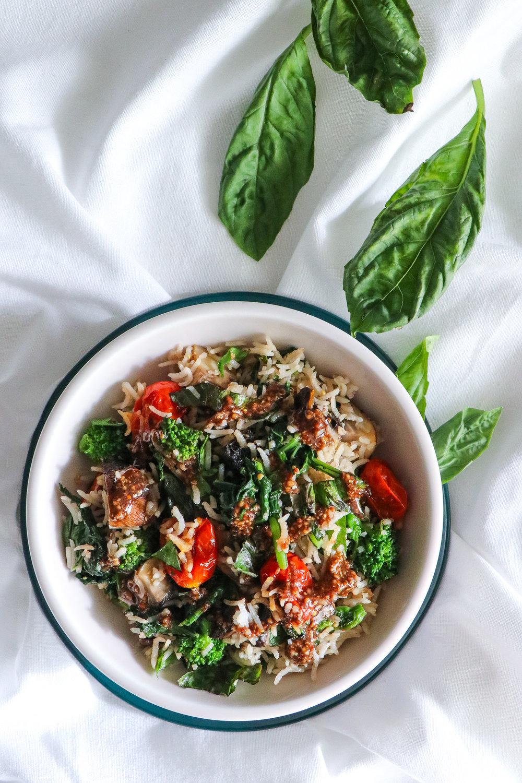 Tomato, arugula, and mushroom rice.jpg