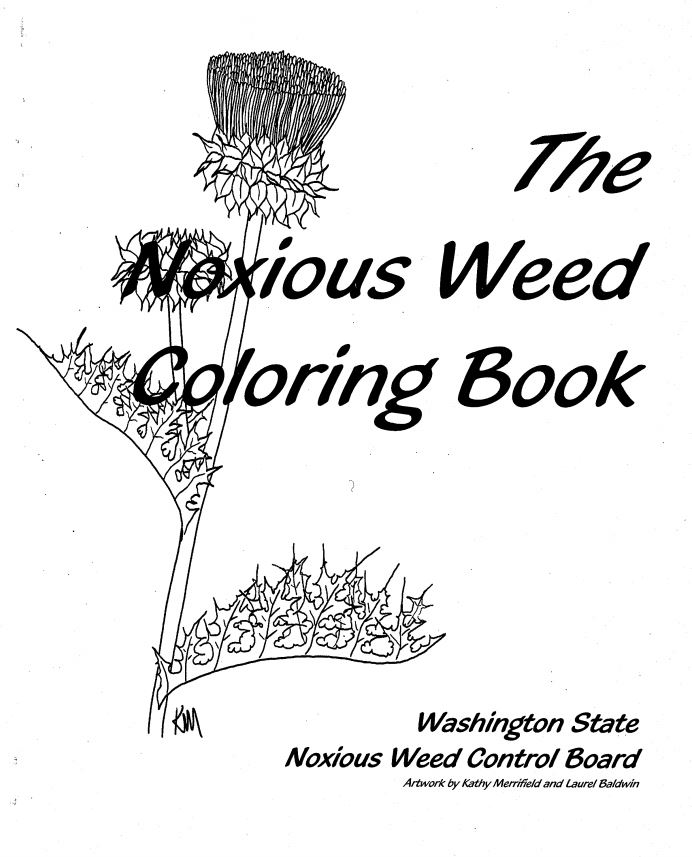 "This coloring book showcases some of the worst weeds found in WA State. 16 page booklet, 8"" x 11"".   It was created by Kathy Merrifield and Laurel Baldwin of Whatcom County Noxious Weed Control Board."