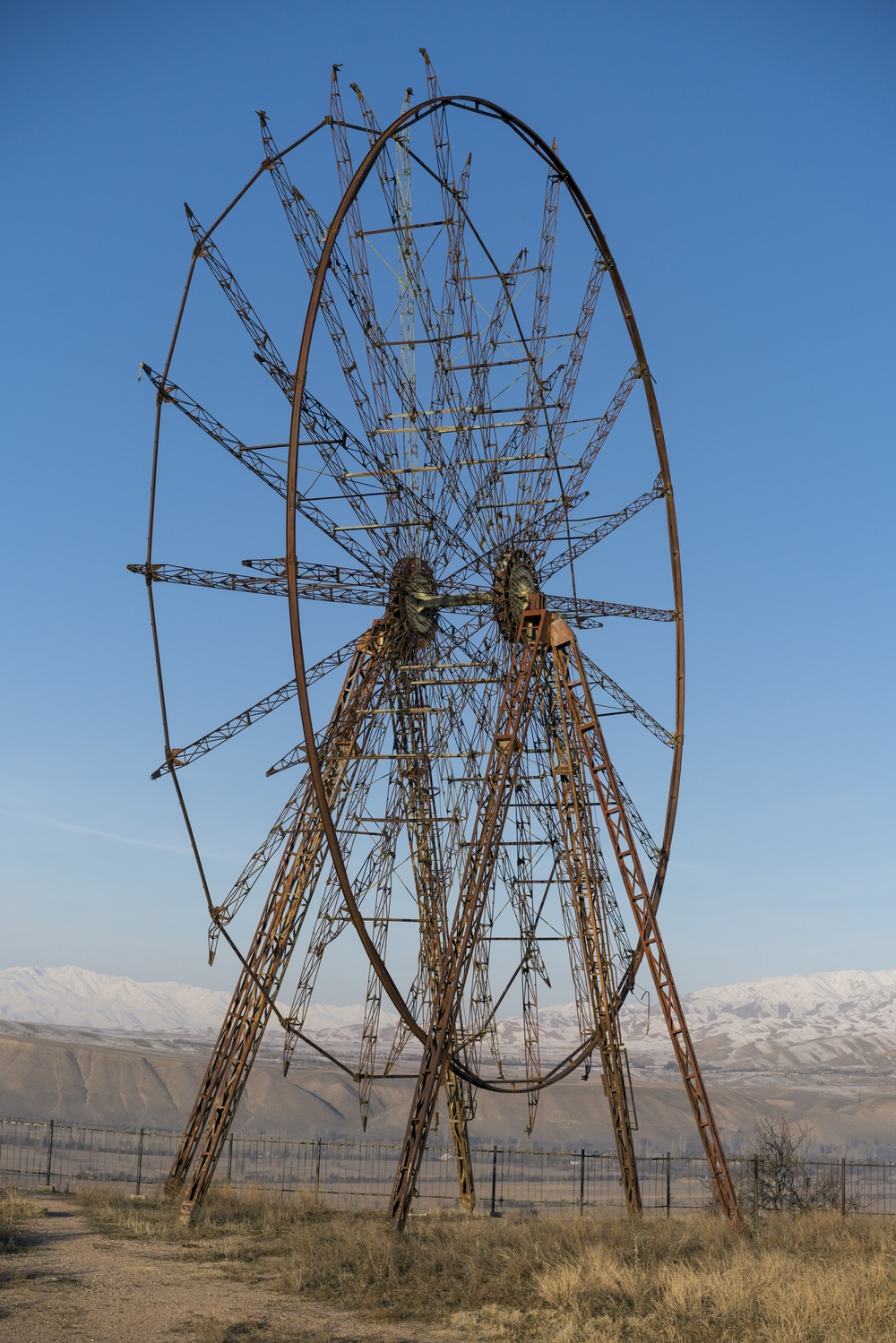 an abandoned ferris wheel