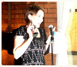 Me, slightly embarrassed, accepting a Leicester Comedy Festival Award in 2007