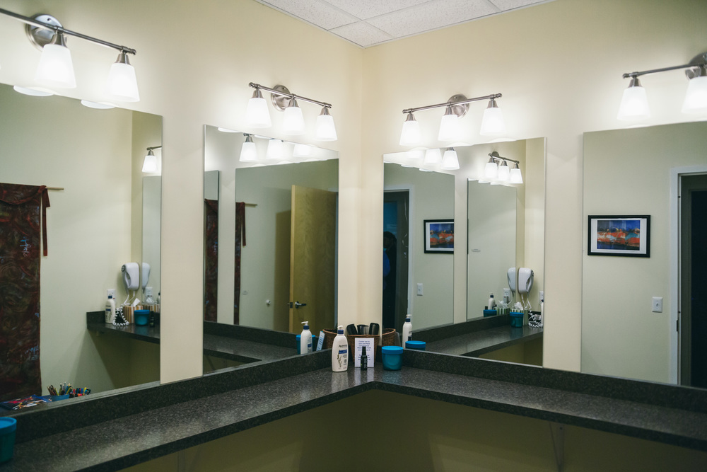 Our Primp Room houses hair dryers, hair spray and other amenities for your post-float convenience.
