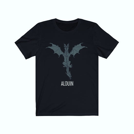 Alduin the World Eater! Fans of Skyrim the fifth installment of the Elder Scrolls Saga this T-shirt is for you!