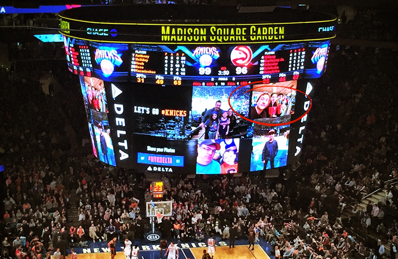 That's us on the jumbo screen during a Knicks game at Madison Square Garden!