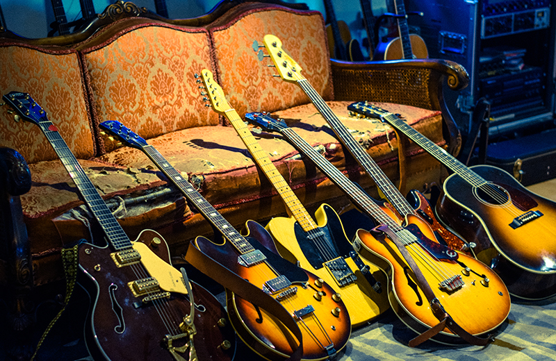 These are some of the guitars we used. Just out of shot some of Dan's super awesome drums.
