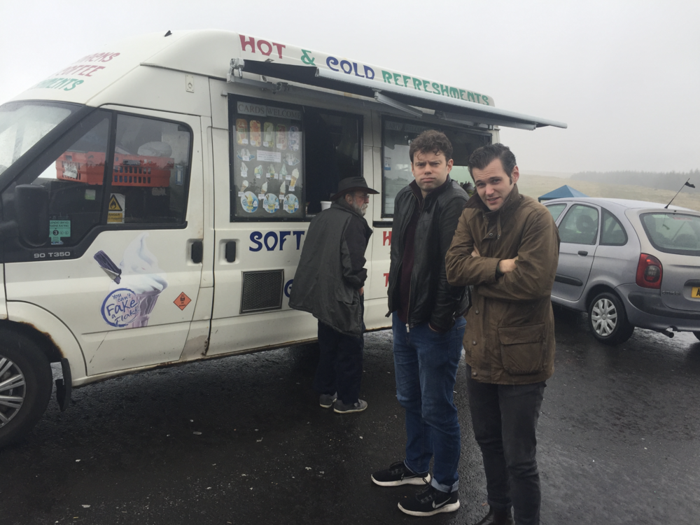 Matt and Ollie queue for ice cream. Not much of a queue unsurprisingly.