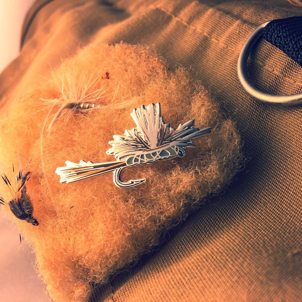 Parachute adams fly enamel pin