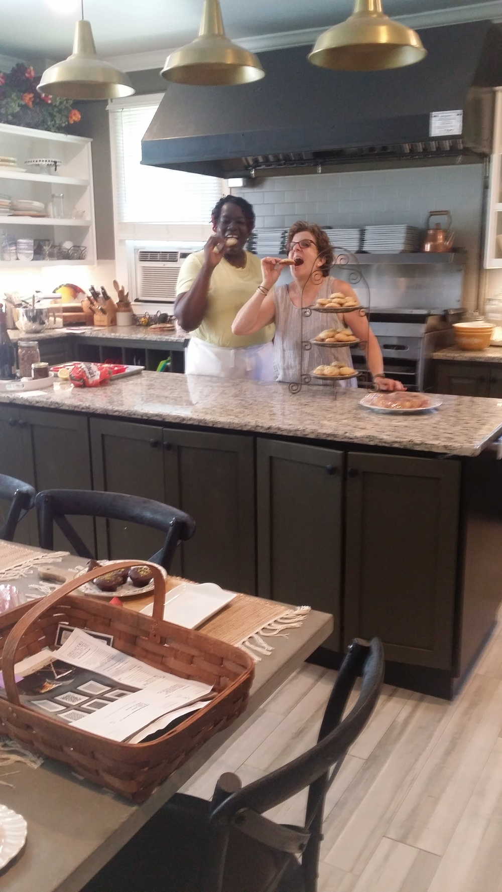 After our Cape Cod meditation class, chefs Gean and Donna are mindfully eating the cookies they prepared for us at the Capt Freeman kitchen.