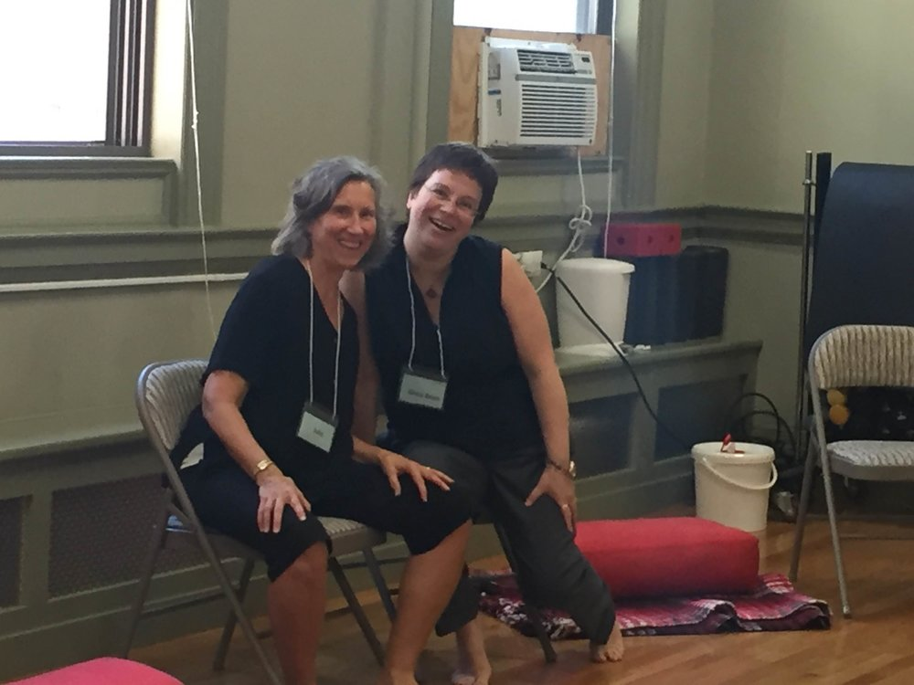 The two teachers for our Open House meditations:   Julie Fraser and Gena Bean