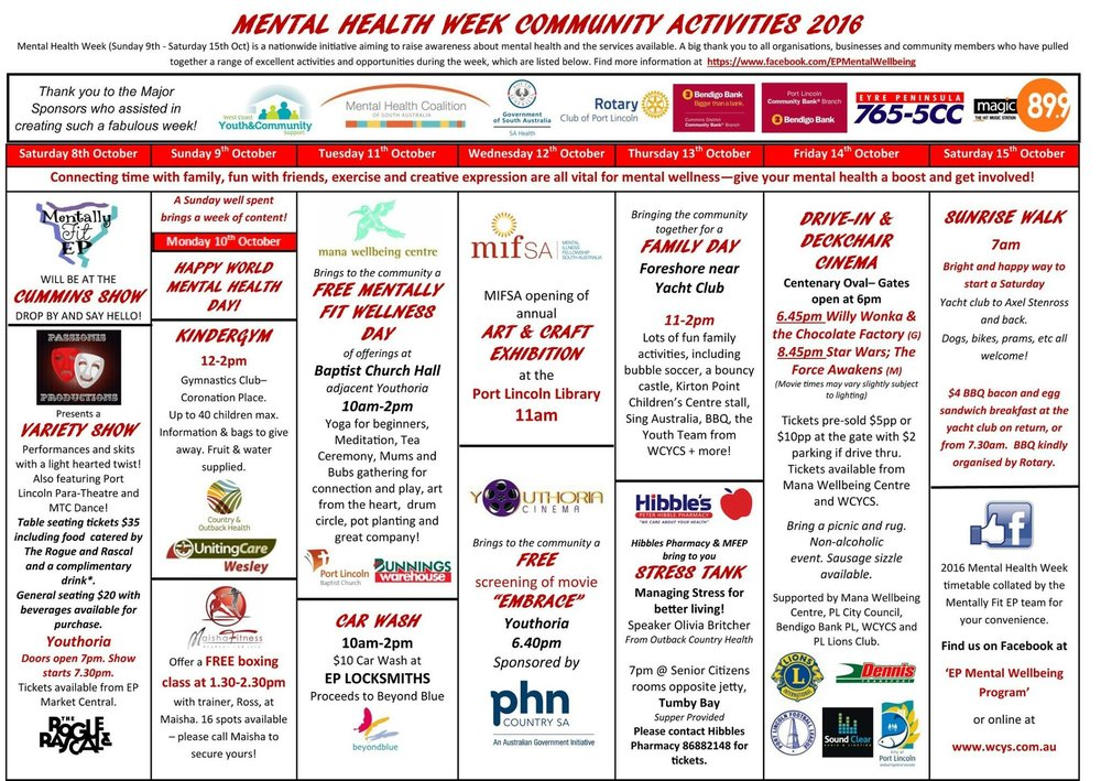 Here is our calendar of Awesome activities!