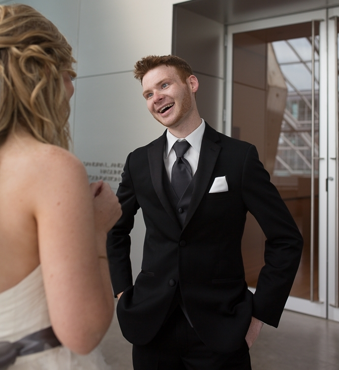My husband seeing me for the first time. Red Arrow Photography.