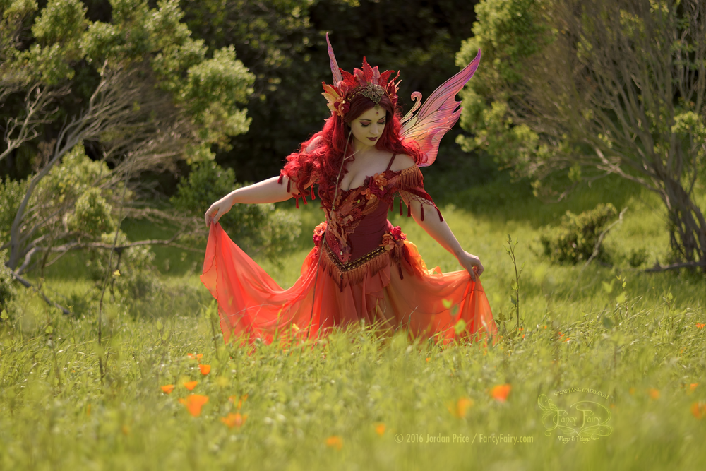 Fire Fairy in the Poppy Field in Serena Painted Wings