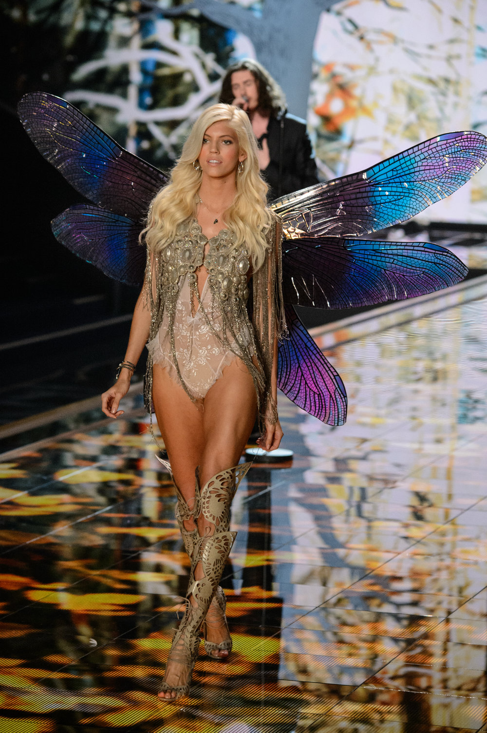 Devon Windsor in Giant Dragonfly Wings, VS Fashion Show 2014 Fairytale Segment