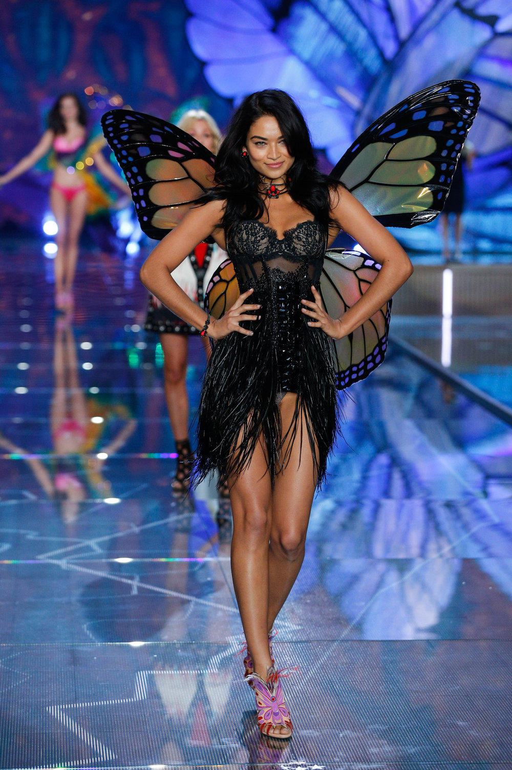 Shanina Shaik in Monarch Butterfly Wings, VS Fashion Show Exotic Butterflies 2015