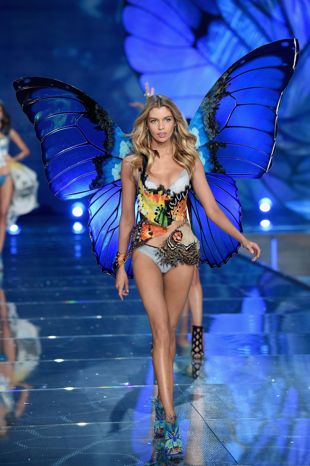 Stella Maxwell in Blue Morpho Wings, VS Fashion Show Exotic Butterflies 2015