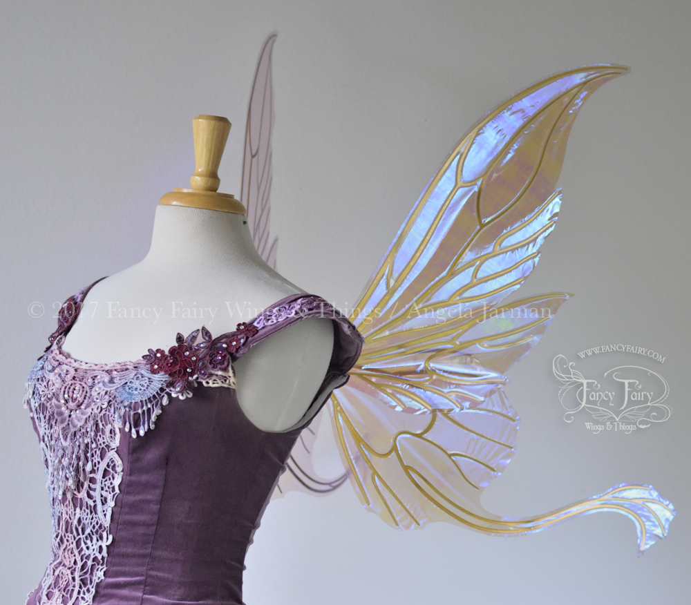 Guinevere Fairy Wings, Iridescent Lilac with Gold Veins Side - Platinum Edition