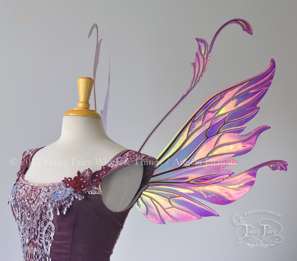 Vivienne Fairy Wings Painted Pink, Yellow & Green with Copper Veins Side