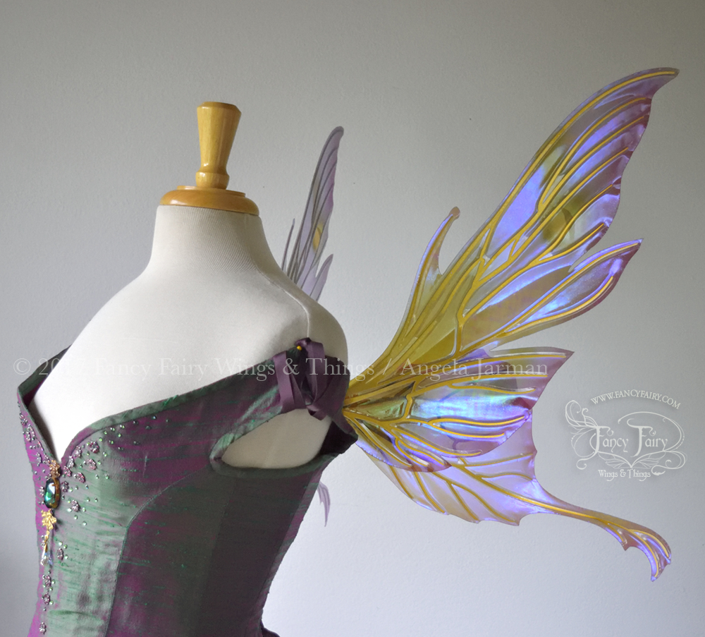 Morgana Fairy Wings Painted Lavender & Green with Gold Veins Side