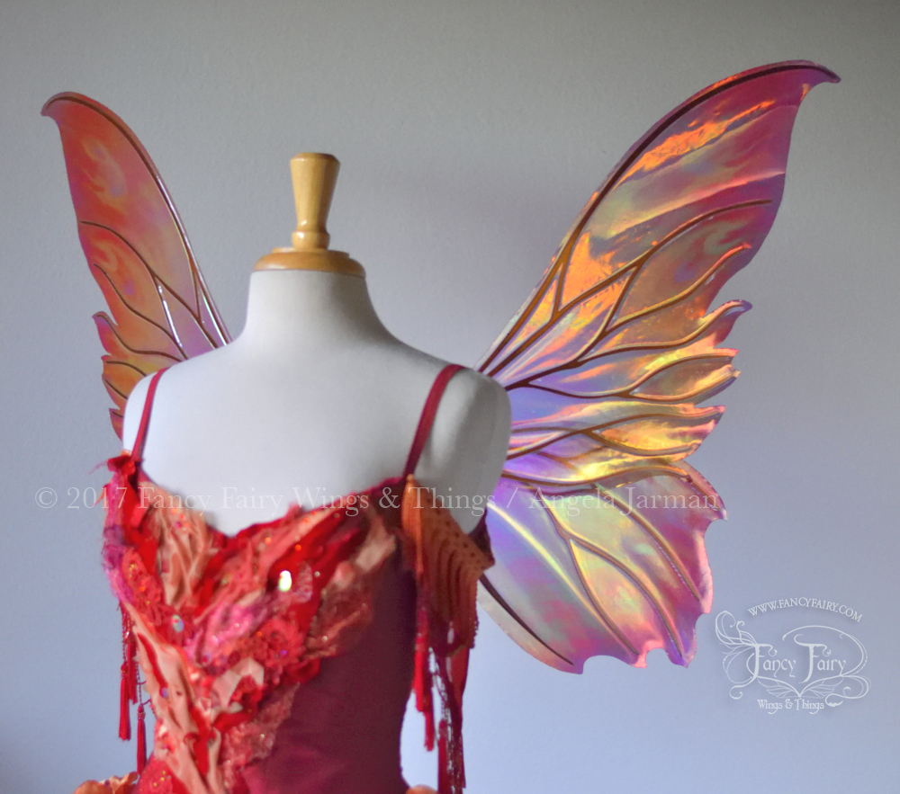 Clarion Fairy Wings Painted Fire (WINX style) with Copper Veins