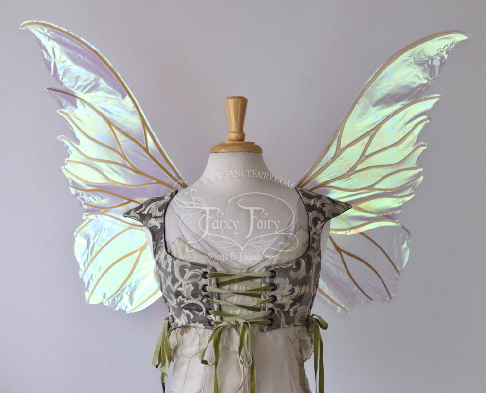 Clarion Fairy Wings in Satin White with Gold Veins