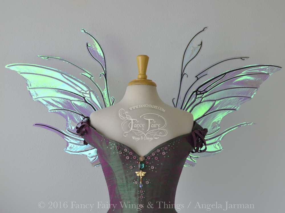 Scythe Fairy Wings in Aquamarine with Black Veins