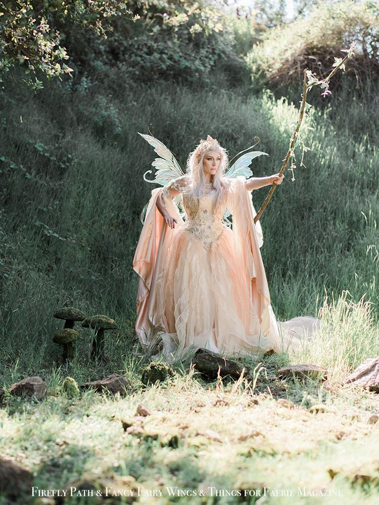 Raiya Corsiglia as Queen Titania with Staff for Faerie Magazine