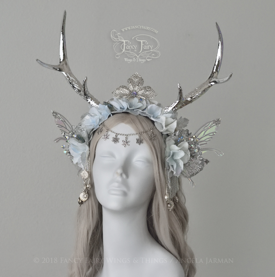 Silver Winter Fairy Faun Headdress, $325