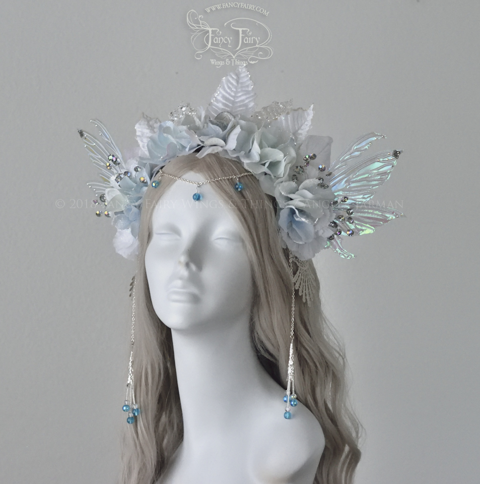 Winter Nymph Headdress in ice blue, silver and white. $315