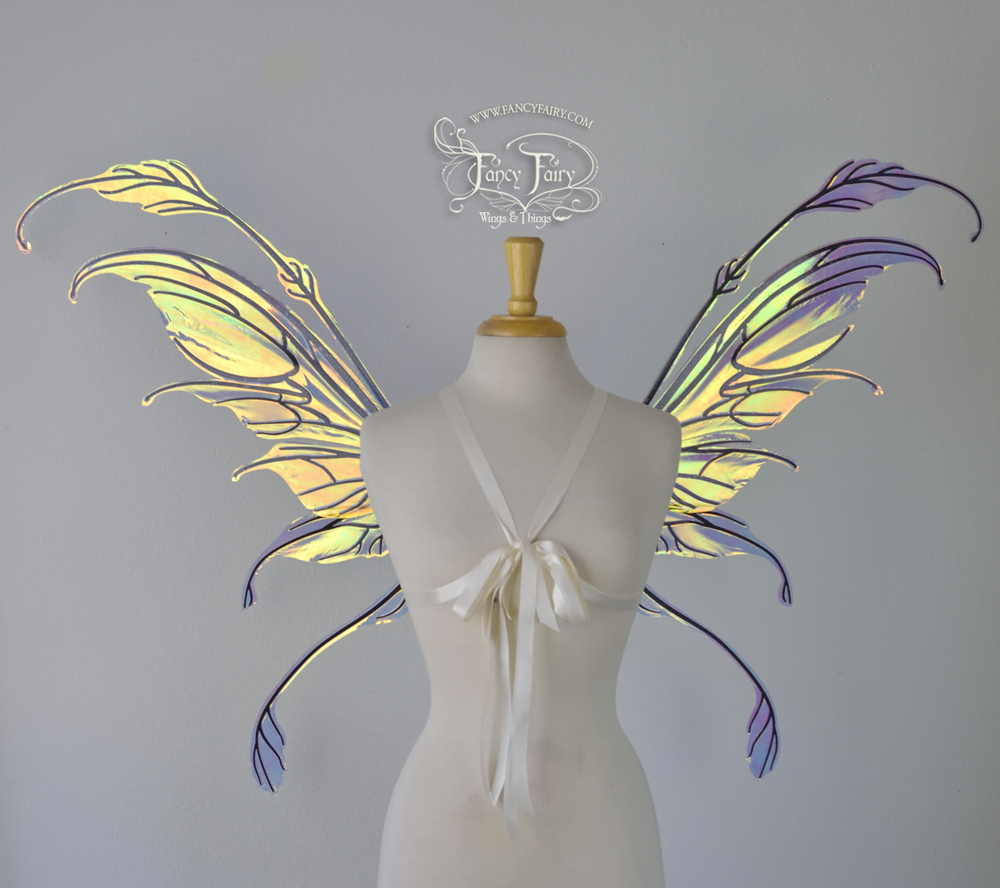 Fauna Convertible Fairy Wings in Clear Diamond Fire with Black Veins